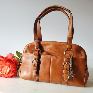 Coach Tan Leather Bag with keychain